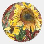 sunflowers painting art gifts round sticker
