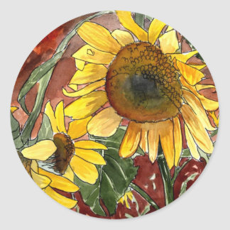 sunflowers painting art gifts round sticker