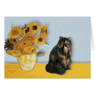 Sunflowers - Persian Calico cat Card