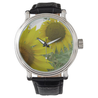 Sunflowers Photo Custom Black Vintage Leather Watch