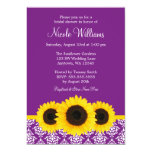 "Sunflowers Purple and White Damask Bridal Shower 5"" X 7"" Invitation Card"