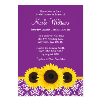 Sunflowers Purple and White Damask Bridal Shower Card
