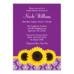 "Sunflowers Purple and White Damask Bridal Shower 5"" X 7"" Invitation Card"