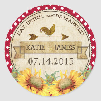 Sunflowers Rooster Rustic Wedding Label Round Sticker