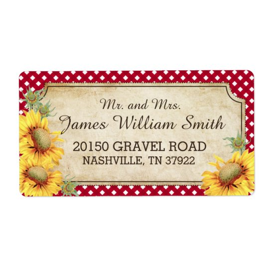 Sunflowers Rustic Country Picnic Wedding Label Shipping Label