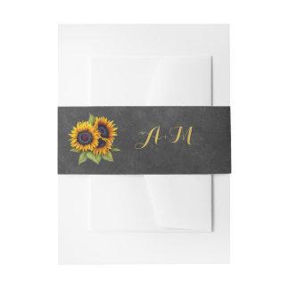 Sunflowers rustic elegant monogram wedding invitation belly band