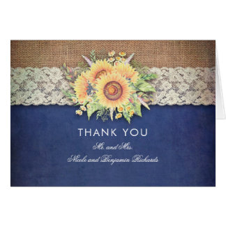 Sunflowers Rustic Navy Wedding Thank You Card