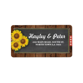 Sunflowers Rustic Wood Chalk Address Labels
