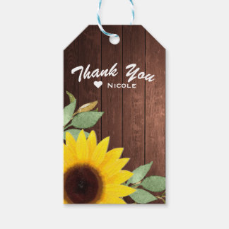 Sunflowers Rustic Wood Elegant Country Wedding Gift Tags