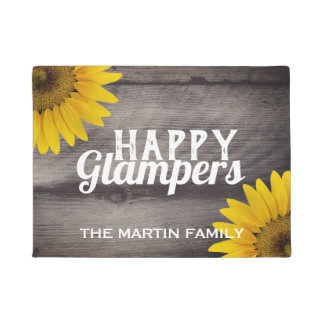 Sunflowers Rustic Wood Glam Campers Happy Glampers Doormat