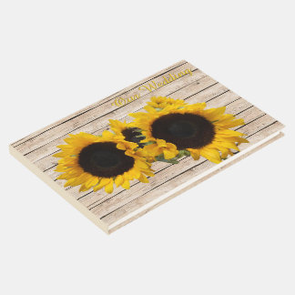 Sunflowers Rustic Wood Guest Book