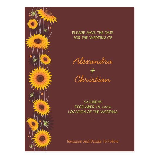 Sunflowers Save the Date Wedding Announcement 3 Postcard