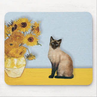 Sunflowers - Seal Point Siamese cat Mouse Pad