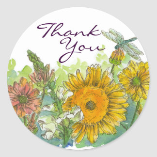 Sunflowers Snapdragon Flowers Dragonfly Thank You Round Sticker