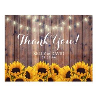 Sunflowers String Lights Rustic Wedding Thank You Postcard