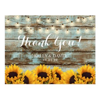 Sunflowers String Lights Vintage Wedding Thank You Postcard