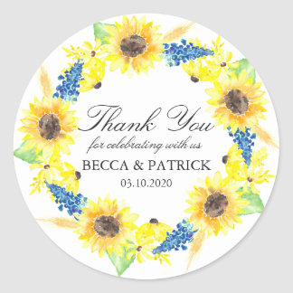 Sunflowers Sunny Summer Wedding Stickers