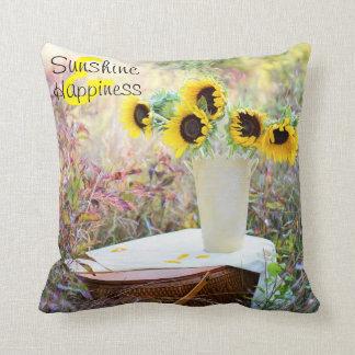 Sunflowers Sunshine & Happiness Throw Pillow