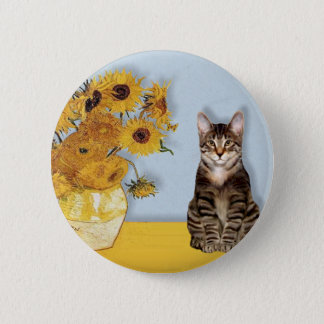 Sunflowers - Tabby Tiger cat 30 2 Inch Round Button