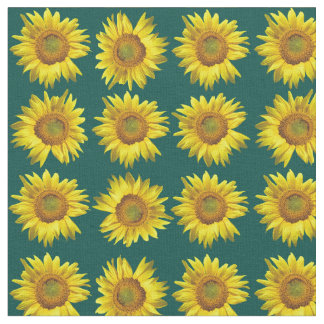 Sunflowers Teal Pattern Sewing Material Fabric