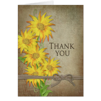Sunflowers - Thank You - Brown Texture Card