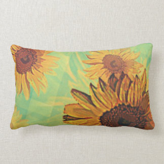 Sunflowers Turquoise Collage Lumbar Pillow