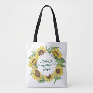 Sunflowers Valentine's Day Floral Frame Tote Bag