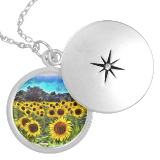 Sunflowers Van Goth Silver Plated Necklace