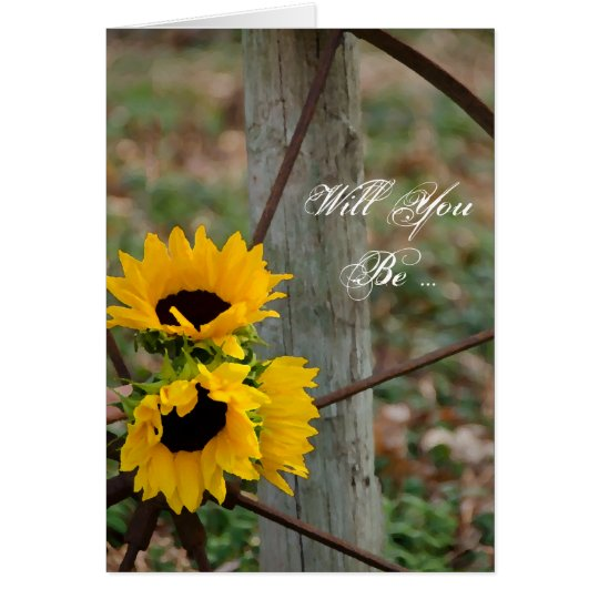 Sunflowers Wagon Wheel Will You Be My Bridesmaid Card