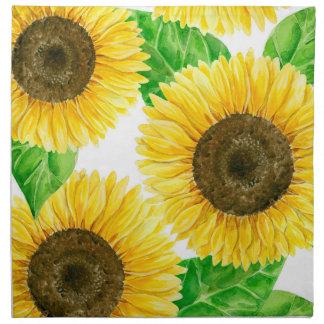 Sunflowers watercolor napkin