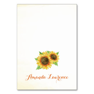 Sunflowers Watercolor Personalized Place Cards