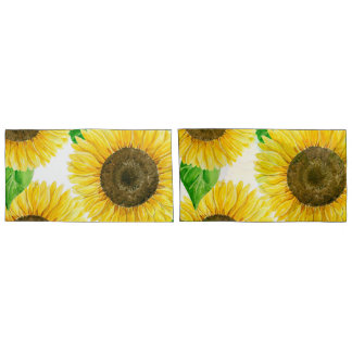 Sunflowers watercolor pillowcase