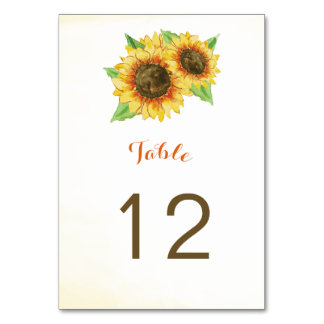Sunflowers Watercolor Table Number Cards