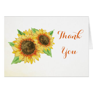 Sunflowers Watercolor Thank You Card
