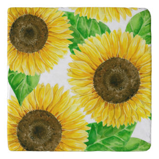 Sunflowers watercolor trivet
