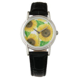 Sunflowers watercolor watch