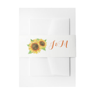 Sunflowers Watercolor Wedding Invitation Belly Band