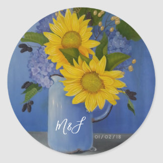 Sunflowers Wedding Classic Round Sticker