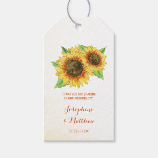 Sunflowers Wedding Favor Tags