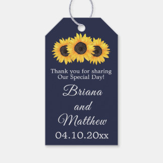 Sunflowers Wedding Favors Gift Tag Country Blue