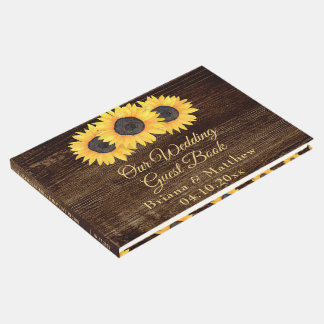 Sunflowers Wedding Guest Book on Wood Country