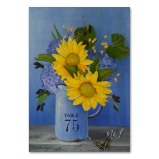 Sunflowers Wedding Party Table Number