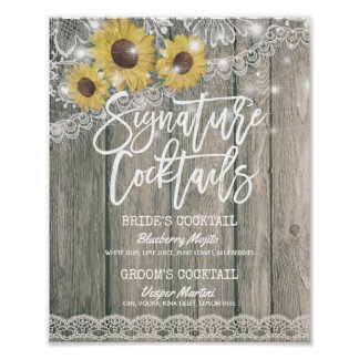 Sunflowers Wedding Signature Cocktail Drink Menu Poster