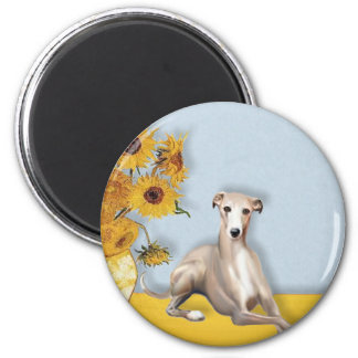 Sunflowers - Whippet #2A 2 Inch Round Magnet