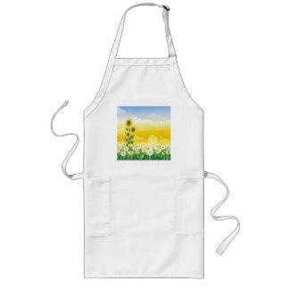 Sunflowers, White Flowers, Sun , Long Apron