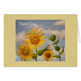 sunflowers with baby bluebird thank you notecard