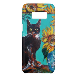 SUNFLOWERS WITH BLACK CAT IN BLUE TURQUOISE Case-Mate SAMSUNG GALAXY S8 CASE