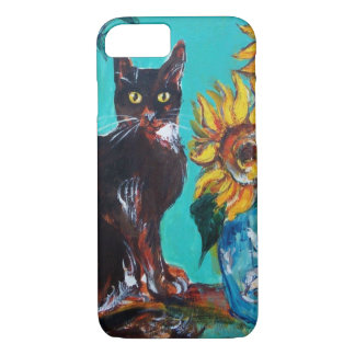 SUNFLOWERS WITH BLACK CAT IN BLUE TURQUOISE iPhone 8/7 CASE