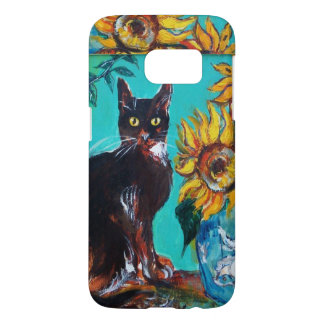 SUNFLOWERS WITH BLACK CAT IN BLUE TURQUOISE SAMSUNG GALAXY S7 CASE