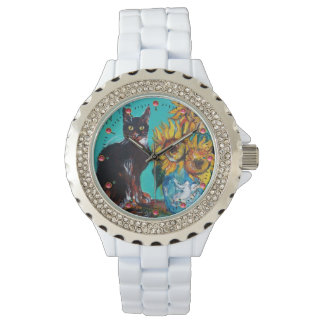 SUNFLOWERS WITH BLACK CAT,Yellow,Turquoise Blue Watch